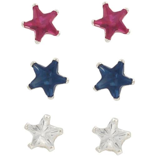 Brinley Co. CZ Sterling Silver 4mm Star Earrings Set, 3 Pairs