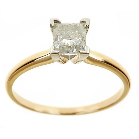 1.5 Carat T.W. Princess White Diamond 14kt Yellow Gold Solitaire Ring, IGL