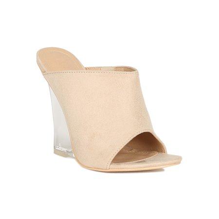 Women Vegan Suede Open Toe Mule Clear Wedge Heel Sandal