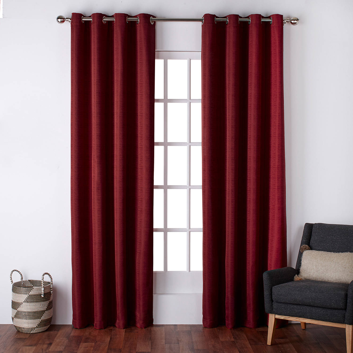 "Exclusive Home Virenze Faux Silk Grommet Top Window Curtain Panels, 54"" X 96"", Chili, Set of 2 / Pair"