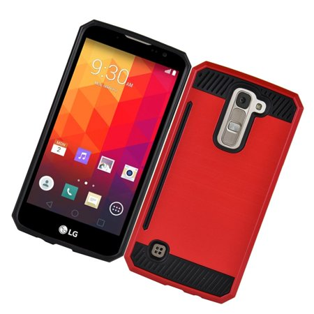 Insten Hard Dual Layer Hybrid Case with card slot holder For LG K7 - Red/Black - image 2 of 3