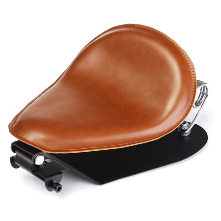 Brown Leather SOLO Seat Pan Frame Cover Barrel motorcycleaccessorie Spring For Bobber Custom