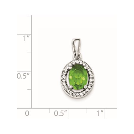 925 Sterling Silver Rhodium-plated w/ Light Green & White CZ Oval Pendant / Charm - image 2 of 2