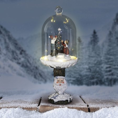 Christmas Pedestal (Exhart 13.5 in. Christmas Tree Dome Sculpture with Santa Pedestal )