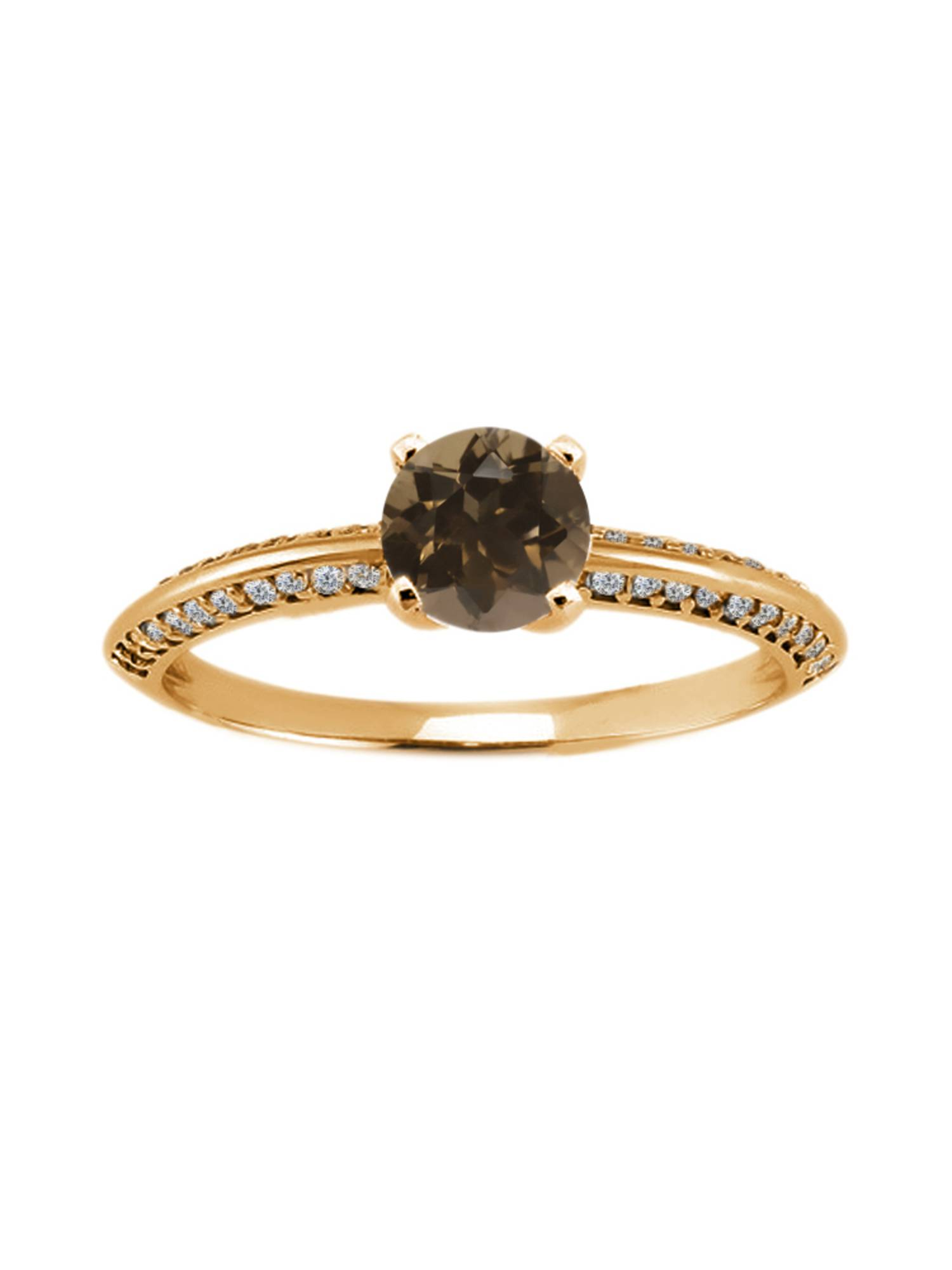 1.04 Ct Round Brown Smoky Quartz 925 Yellow Gold Plated Silver Ring
