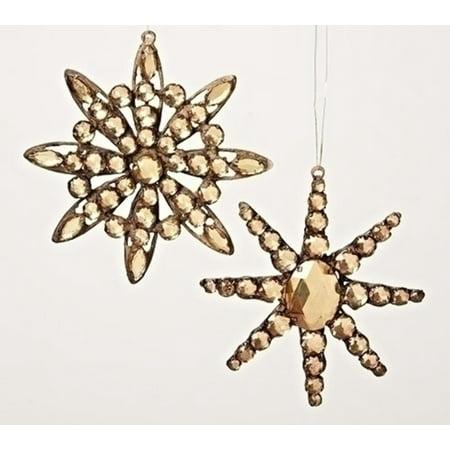 "5.5"" Amber Jeweled Diamond Gem Snowflake Decorative Christmas Ornament - image 1 de 1"
