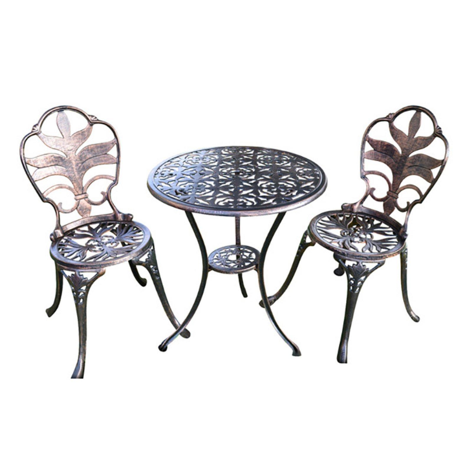 HGC Antiqued Bronze Garden Aluminum 3 Piece Round Patio Bistro Set