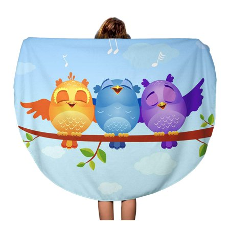 JSDART 60 inch Round Beach Towel Blanket Colorful Cartoon of Funny Characters Birds Sing Orange Cute Travel Circle Circular Towels Mat Tapestry Beach Throw - image 2 de 2