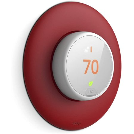 elago Wall Plate Cover Designed for Google Nest thermostat E Wall Plate (Red) - Compatible with Nest Thermostat E, Hard ABS Material [US Patent Registered] Made from hard, durable ABS, the Wall Plate Cover is made to last and add a uniform splash of color to the thermostat's surroundings. the plate is curved to act as a natural continuation of the design of the Nest Thermostat E.
