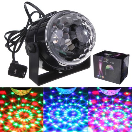 110V 5W Mini RGB Crystal M-agic Ball DJ Lights LED Stage Effect Lighting for Wedding Christmas Party Disco Dance Club KTV Bar Voice Control Sound Active/Auto Lighting Feature](Black Lights For Party)