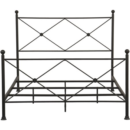 """All-in-One Black """"X"""" Metal Bed, Queen"""