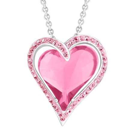 Double Heart Pendant Necklace with Rose Swarovski Crystals in Sterling Silver, 18 Designer Crystal Double Heart