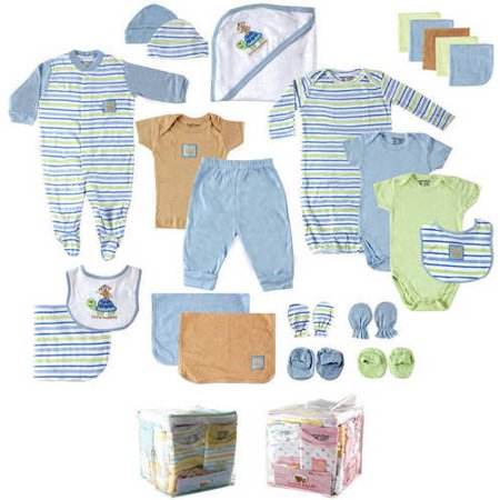 Luvable Friends Baby 24pc Gift Cube Bodysuit - Blue/Green/White 0-6M