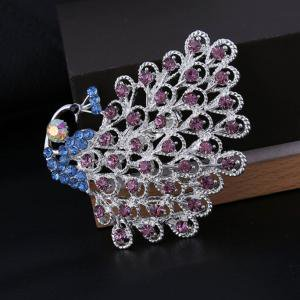 Fancyleo 1 Piece Gorgeous Bridesmaid Jewelry Clear Crystal Peacock Tail Bridal Wedding Women Brooch Pin (Peacock Colors For Wedding)