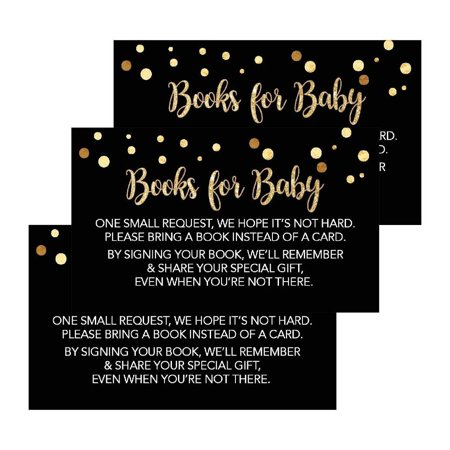 25 Black Books For Baby Request Insert Card For Boy or Girl Gold Baby Shower Invitations or invites, Cute Bring A Book Instead of A Card Theme For Gender Reveal Party Story Games, Business Card Sized - Summer Baby Shower Themes