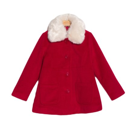 bossini Girls Fashion Fur Collar Pocket Reliable Jacket Red Coat 130,US Size 10 - Red - Fur Collar Pockets