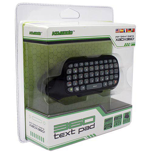 KMD Text Pad QWERTY Keyboard For Microsoft Xbox 360 Controller Black