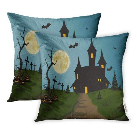 ECCOT Blue Hallowen Scary Halloween Scene Castle and Full Moon Clipart Pillowcase Pillow Cover 20x20 inch Set of 2](Halloween Divider Clipart)