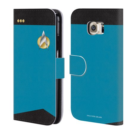 OFFICIAL STAR TREK UNIFORMS AND BADGES TNG LEATHER BOOK WALLET CASE COVER FOR SAMSUNG PHONES 1 (Star Trek Tng Uniforms)