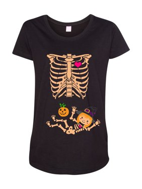 Baby Skeleton Witch Halloween Horror Funny Maternity DT T-Shirt Tee