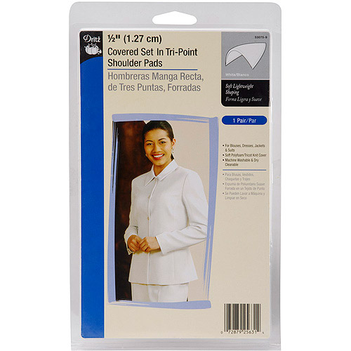 "1/2"" Covered Set, In Tri, Point Shoulder Pads, White, 2/pkg"