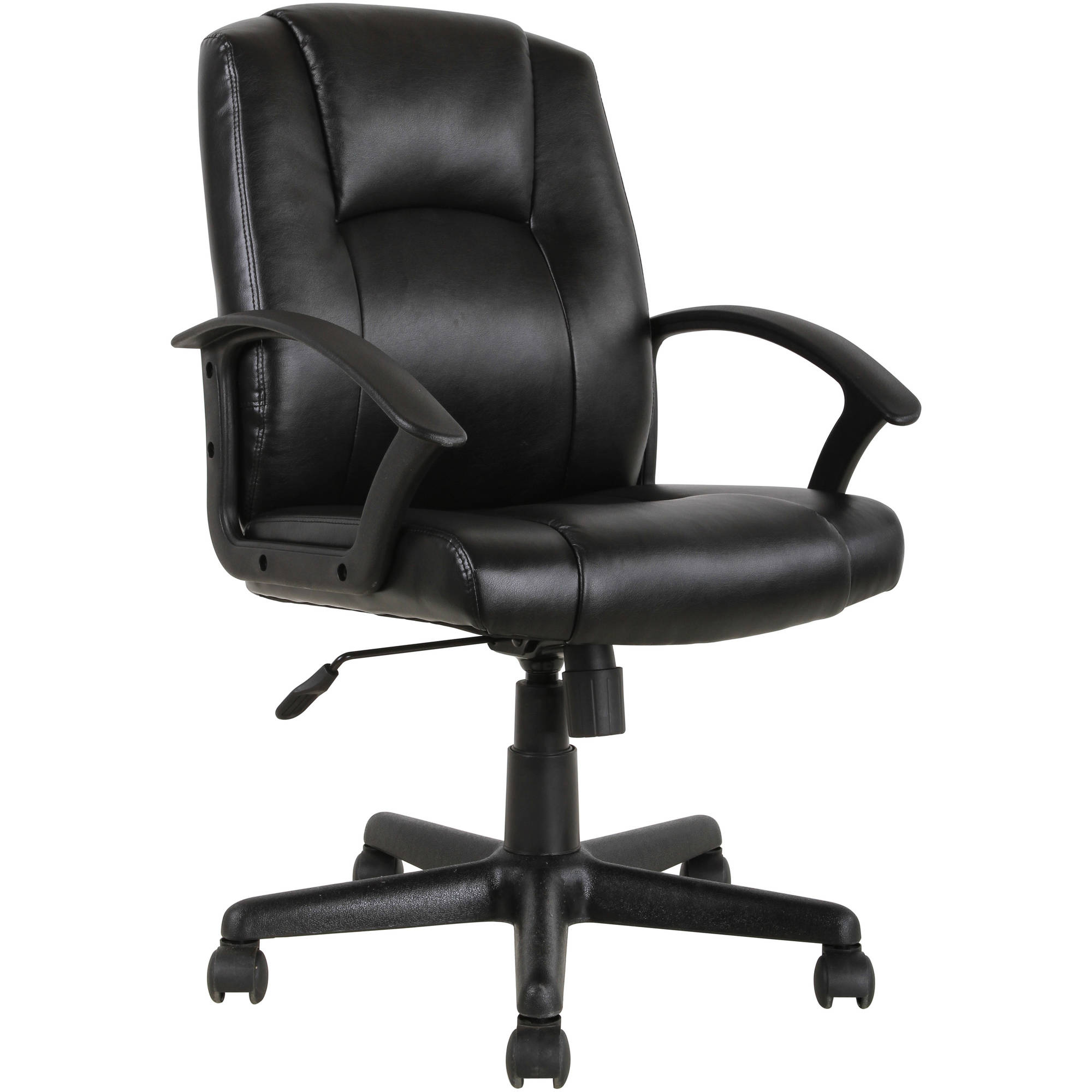 Mainstays Mid-Back Leather Office Chair, Black