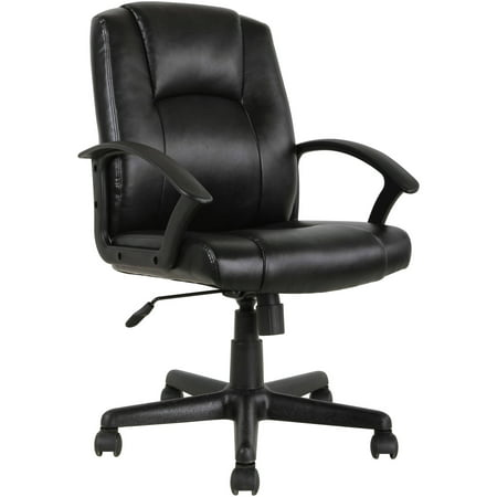 Mainstays Mid-Back Leather Office Chair, Black - Walmart.com