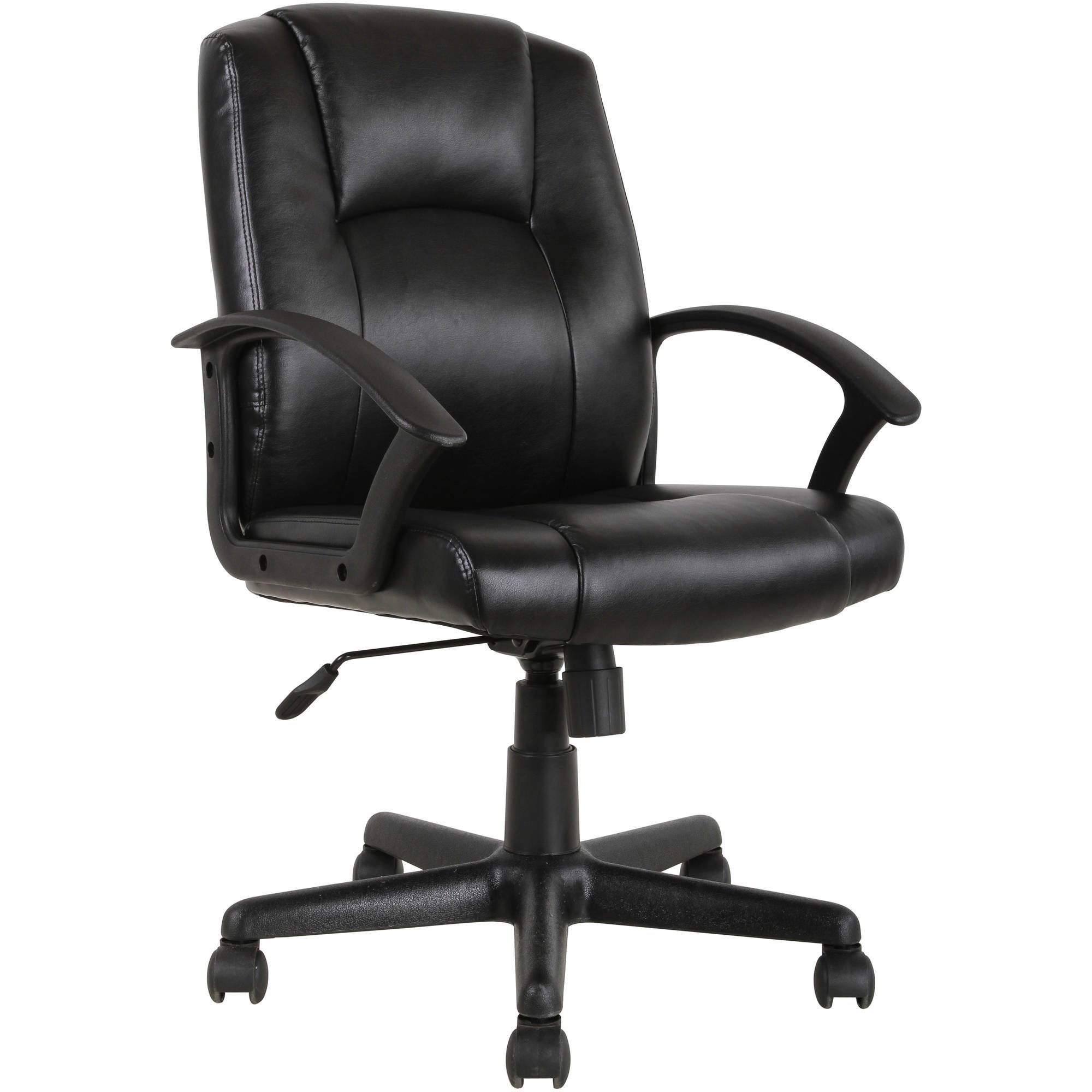 Mainstays Mid Back Leather Office Chair, Black