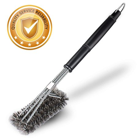 Grill Brush, Bristle Free BBQ Grill Brush, 100% Rust Resistant Stainless Steel Barbecue Grill Cleaner, Best Accessories, Safe for Porcelain, Ceramic, Steel,