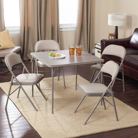 Meco Sudden Comfort Deluxe Double Padded Chair and Back - 5 Piece Card Table Set - Chickory Dune ()