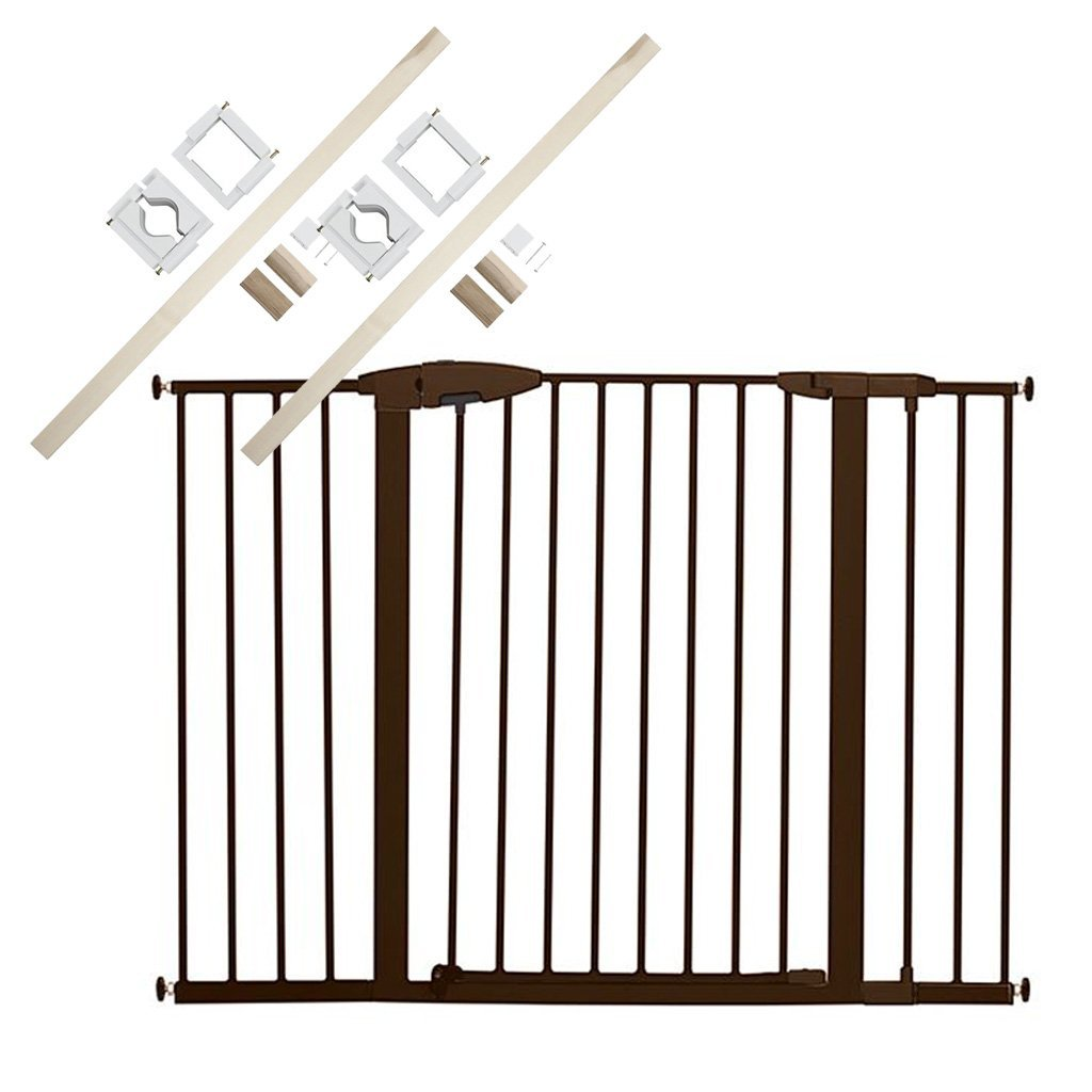 Munchkin Easy Close Metal Extra Tall & Wide Safety Gate with 2 Universal Stairway Gate Installation Kits by Munchkin