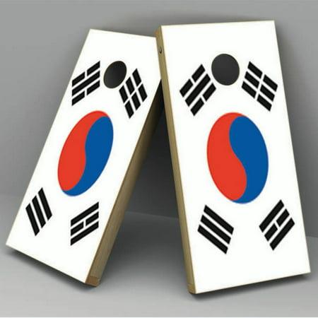 South Korea Flag Cornhole Board Vinyl Decal (Korean Coin Set)