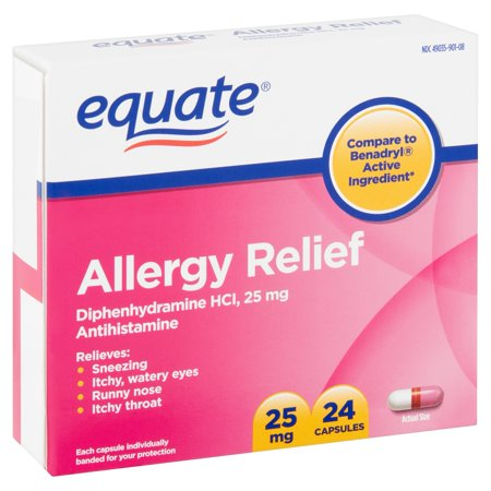 Equate Allergy Relief Capsules, 25 mg, 24 Count