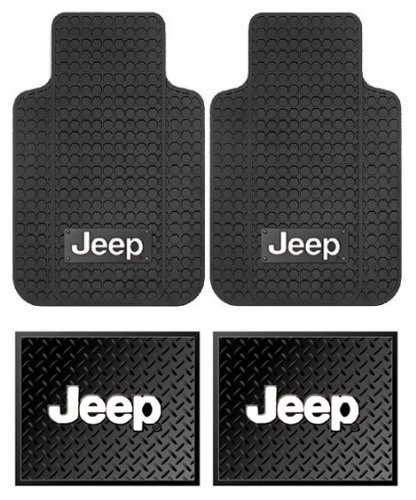 Jeep Logo Car Truck SUV Front & Rear Seat Rubber Floor Mats - 4PC