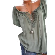 Short Sleeved Women Lace Stitching Casual Blouse Female Plus Size Tops