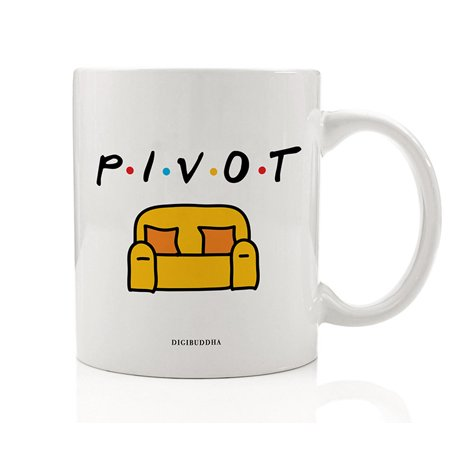 PIVOT Coffee Mug Gift Idea FRIENDS Show Hilarious Couch Moving Episode Favorite NY Apartment Scene Present for BFF Friend Family Coworker Christmas Birthday 11oz Ceramic Tea Cup Digibuddha DM0770 - Halloween Decorating Ideas For Apartments