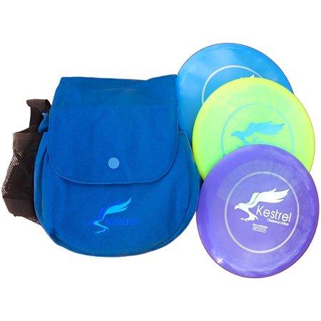 Kestrel Discs Golf Pro Set 3 Disc Pack Bundle Bag Includes Distance Driver Mid Range And Putter Frisbee