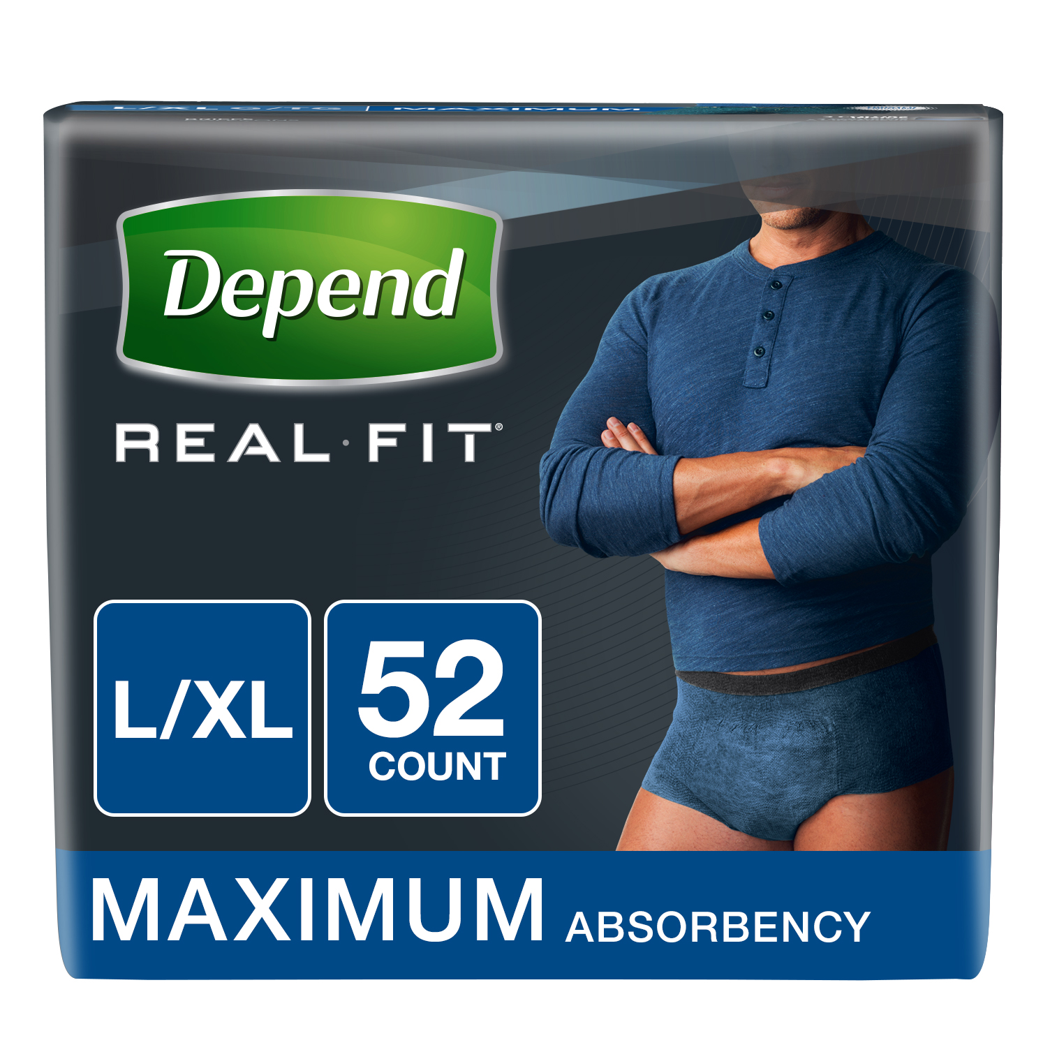 Depend Real Fit Incontinence Briefs for Men, Maximum Absorbency, L/XL, Blue, 52 count