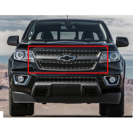 2015-2018 Chevy Colorado Not For ZR2 Model Stainless Steel Black Main Upper Wire Mesh Rivet Grille