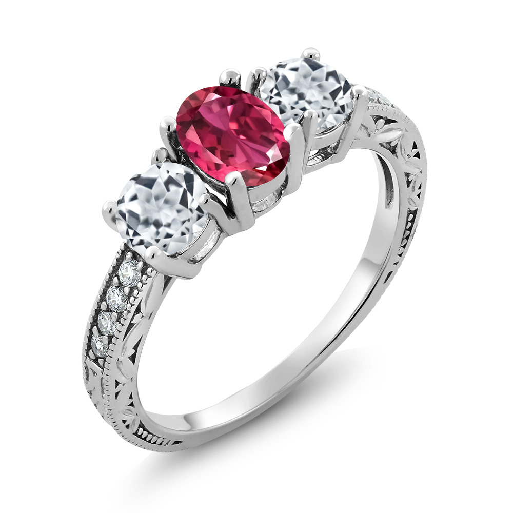 2.17 Ct Oval Pink Tourmaline White Topaz 925 Sterling Silver Ring by