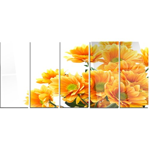 Design Art 'Orange Flowers Chrysanthemum' 5 Piece Photographic Print on Canvas Set
