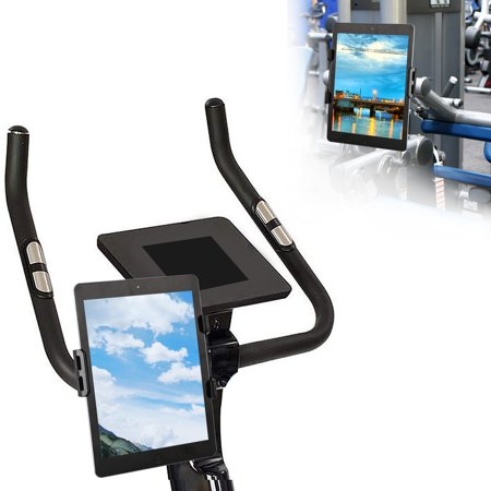 EEEKit Indoor Cycling Bike Mount, Tablet Cell Phone Holder Mount Bracket Stand Stationary Handlebar Bracelet for Bike, Exercise Bicycle,Treadmill, Elliptical, Adjustable Rotatable - Black