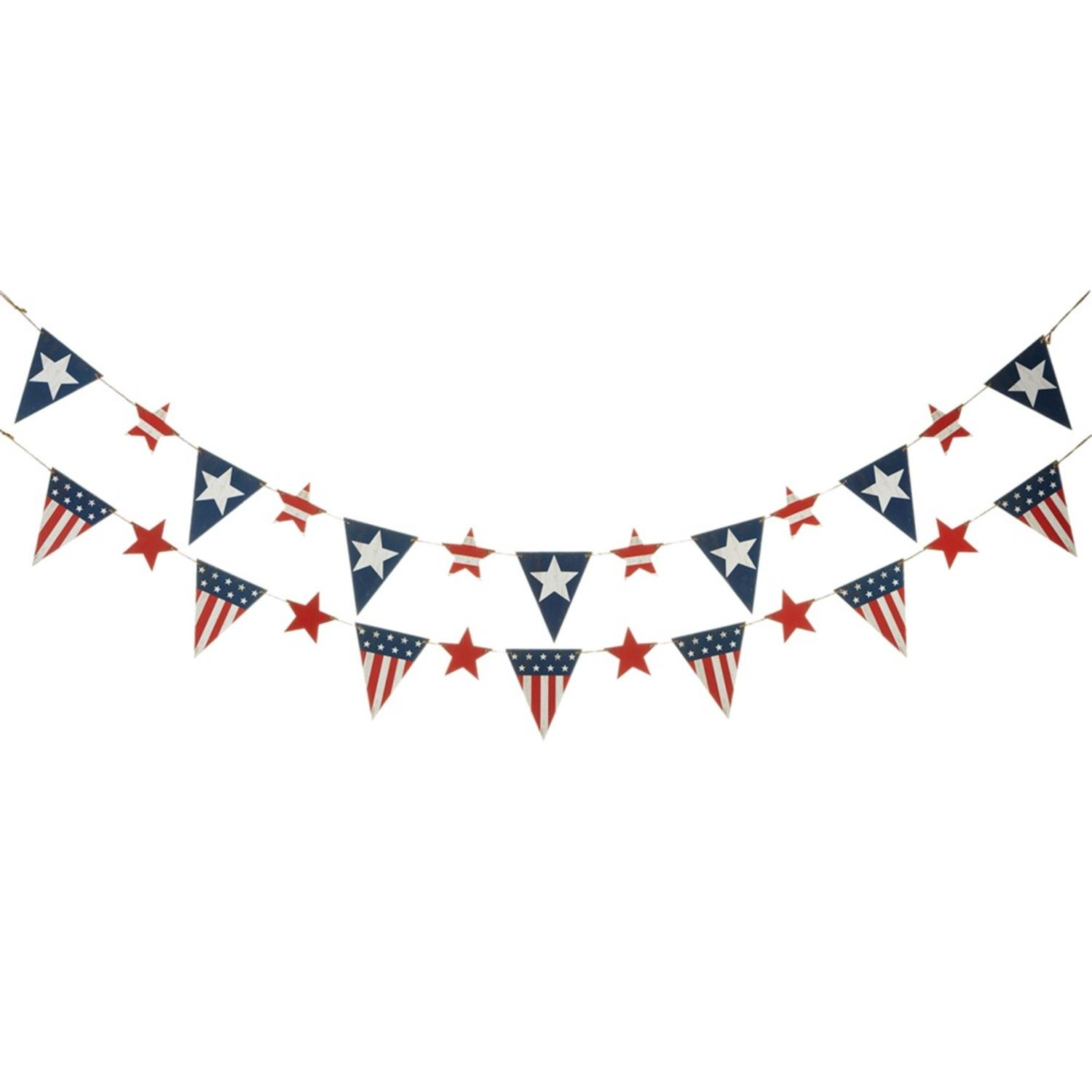"""Set of 4 Blue and Red Two Assorted American Flag Themed Decorative Garland 84"""""""