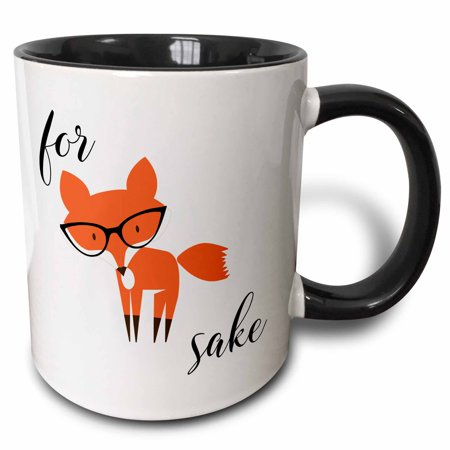 Daiginjo Sake - 3dRose For Fox Sake - Two Tone Black Mug, 11-ounce