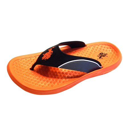 U.S. Polo Assn. Men's Premium Contoured Sporty Thong Sandal Flip Flop Water Friendly Halloween Edition or Winter Blue (Orange, S) - Extreme Contouring Halloween