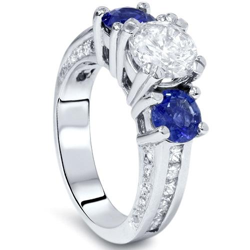 3ct Three Stone Enhanced Diamond Blue Sapphire Accent Ring 14K White Gold by Pompeii3