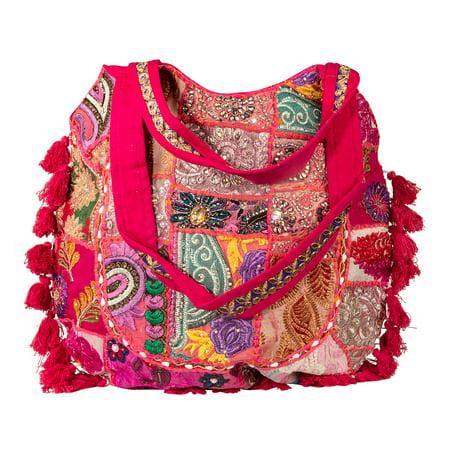 Quilt Handbag Purse (Pink Quilted Colorful Embroidered Patchwork Tote Women Shoulder Bag Beach Tribal Large Everyday Handbag)