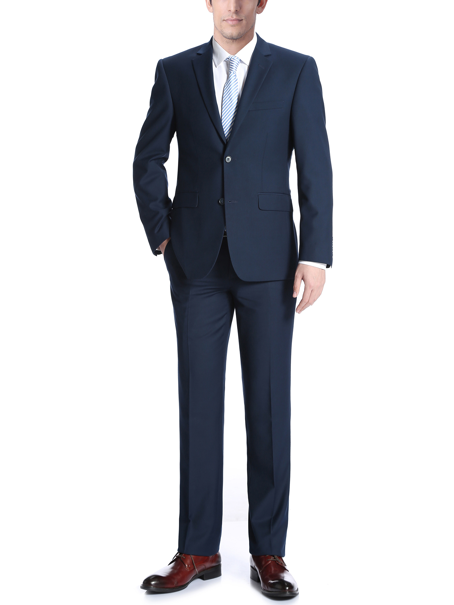 Campana Men's Navy Classic Fit Italian Styled Two Piece Suit