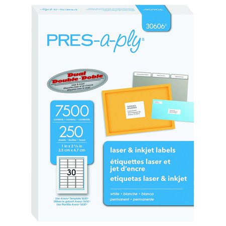 Laser Address Labels, 1 x 2.625 Inches, White, Box of 7500 (30606), 250 sheets with 30 labels on each sheet for a total of 7500 labels By Pres-a-ply