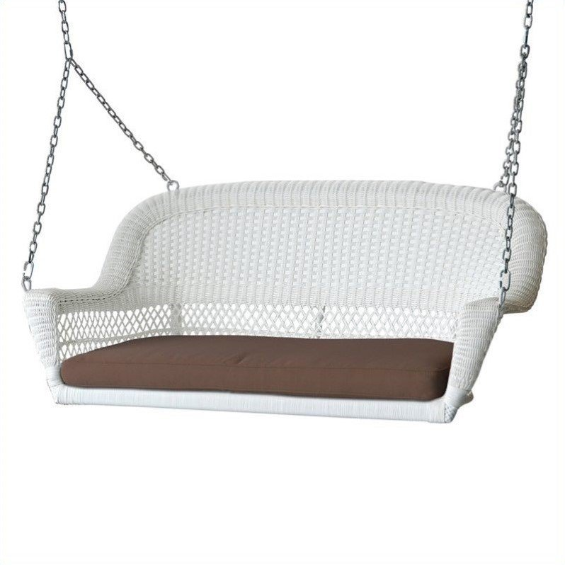 Jeco Wicker Porch Swing in White with Brown Cushion by Jeco Inc.